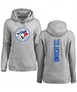 Women's Toronto Blue Jays 65 Ash Backer Hoodie - Elvis Luciano