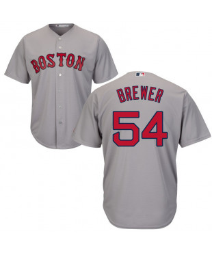 Boston Red Sox Colten Brewer Authentic Cool Base Men's Majestic Jersey - Gray