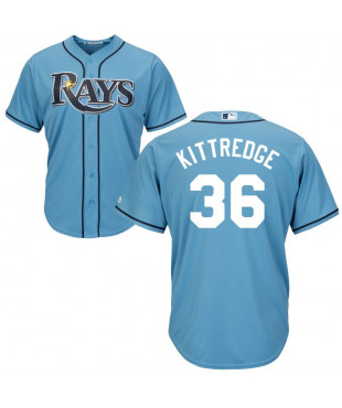 Tampa Bay Rays Andrew Kittredge Authentic Cool Base Men's Majestic Jersey - Light Blue