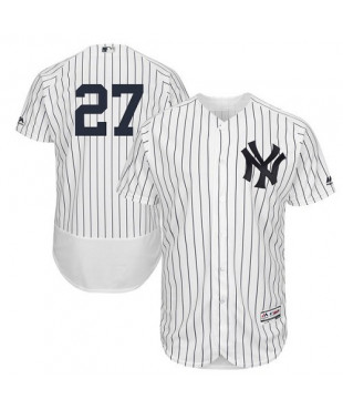 New York Yankees Giancarlo Stanton Authentic White/Navy Home Flex Base Men's Majestic Jersey - White