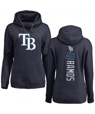 Women's Tampa Bay Rays 40 Navy Backer Pullover Hoodie - Wilson Ramos